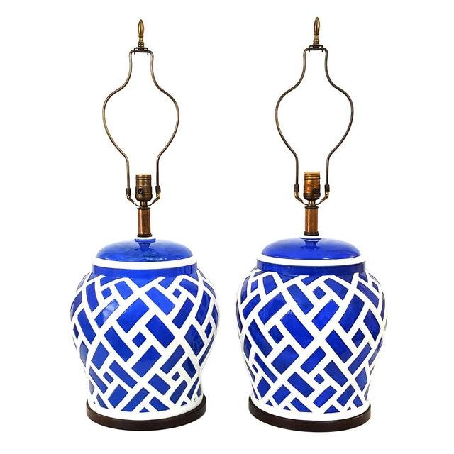 Frederick Cooper Blue & White Ginger Jar Lamps - A Pair - Image 1 of 7