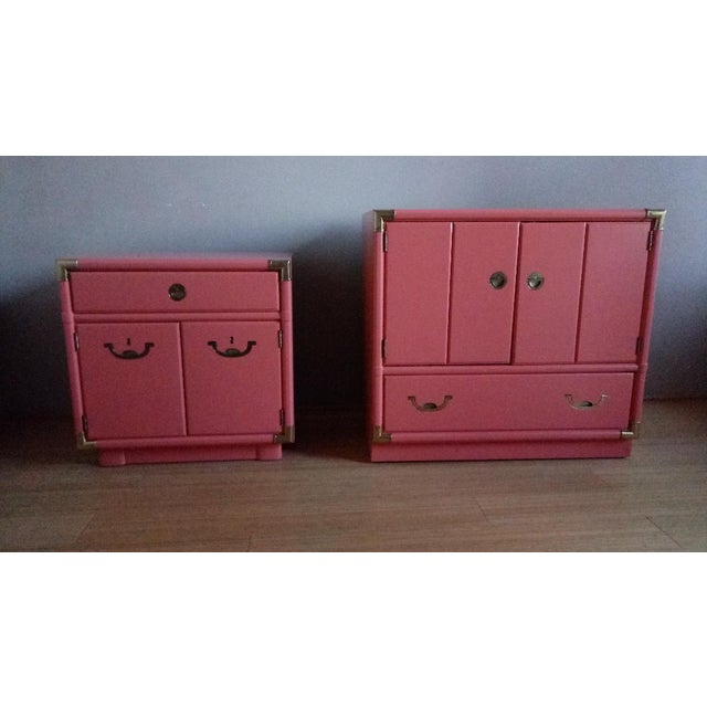 Drexel Accolade Campaign Coral Nightstands - a Pair For Sale - Image 10 of 10
