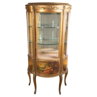 Vernis Martin 19th Century Louis XVI Style Hand-Painted Ormolu Display Cabinet For Sale