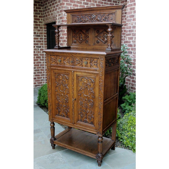 Antique French Oak 19th Century Renaissance Revival Gothic Vestry Sacristy Wine Altar Cabinet Bookcase For Sale - Image 12 of 13
