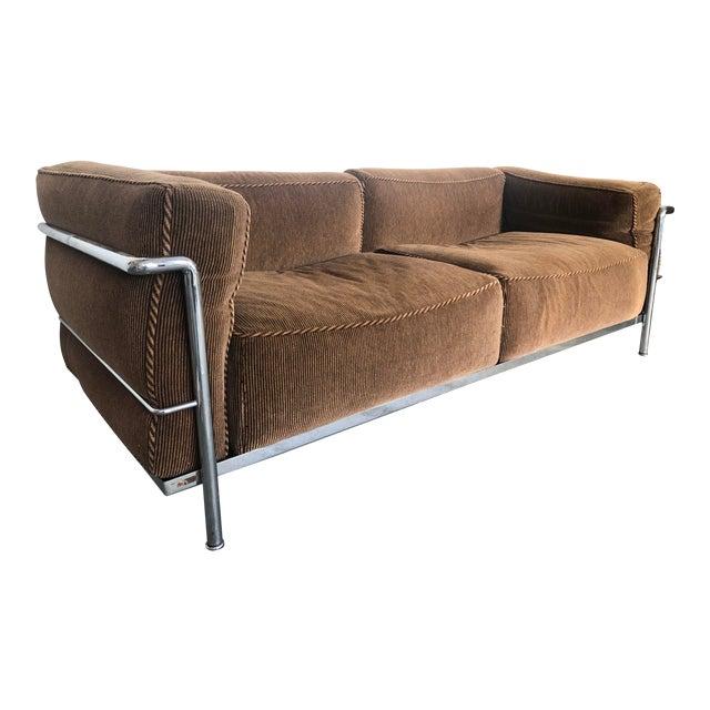 Vintage Cassina Lc3 Divano Brown Tweed Loveseat Sofa