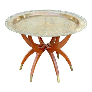 Mid-Century Brass Moroccan Tray Table