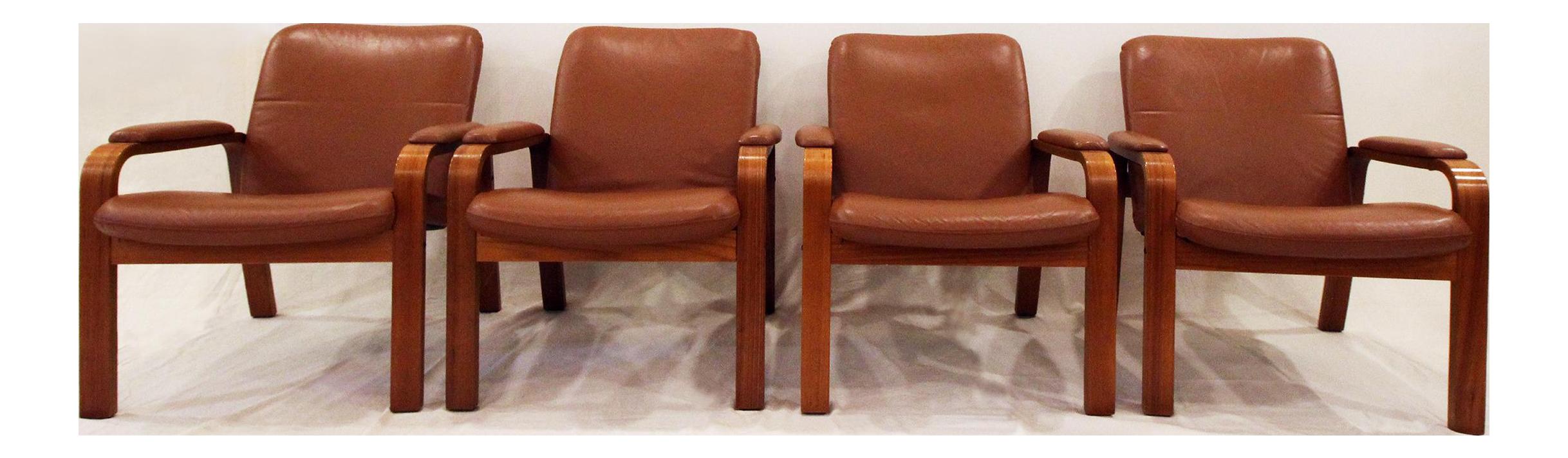 norwegian vintage office chair. Vintage Ekornes Norwegian Leather \u0026 Teak Armchairs- Set Office Chair P