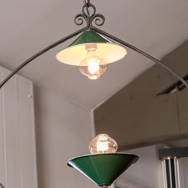 1910s Wonderfully Unique Two-Bulb Chandelier For Sale - Image 5 of 6