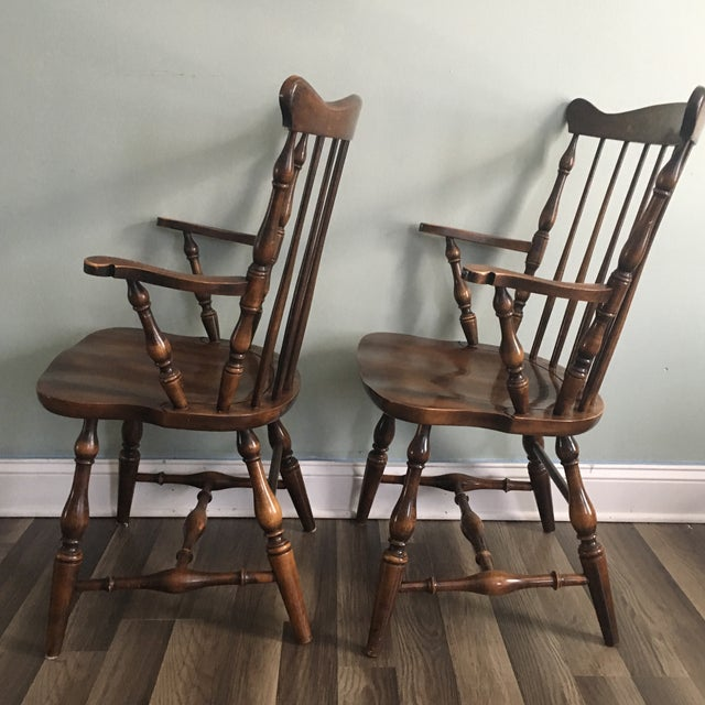British Colonial L. Hitchcock Fan Back Windsor Style Maple Harvest Stenciled Armchairs - A Pair For Sale - Image 3 of 8
