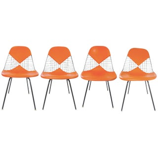 Eames Orange Wire Bikini Dining Chairs - Set of 4 For Sale