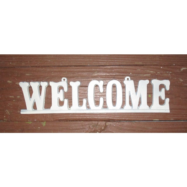 """1950s Vintage Cast Iron """"Welcome"""" Hanging Sign For Sale - Image 5 of 8"""