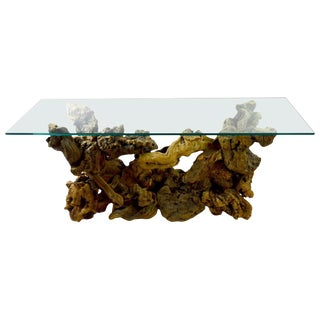 Root Burl Glass Top Console Table For Sale