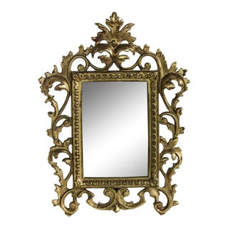 Hollywood Regency Gold Tole Scrolled Picture Frame For Sale