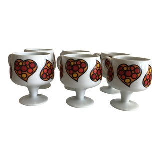 70's Retro Heart Cups - Set of 6 For Sale