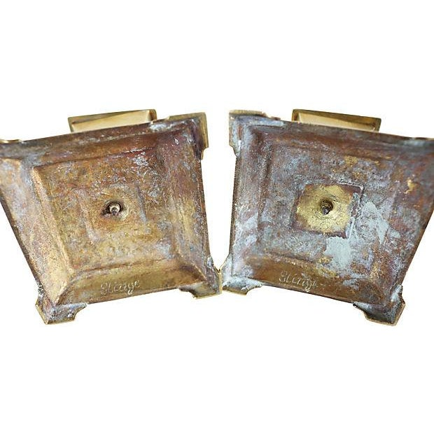English Traditional Antique Column Brass Candleholders - a Pair For Sale - Image 3 of 4