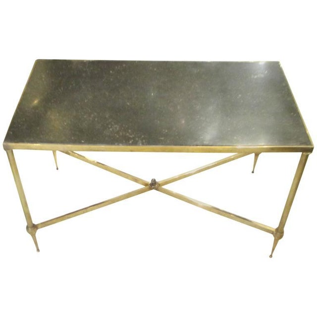 Brass Bagues Brass Coffee Table With Marble Top For Sale - Image 7 of 7