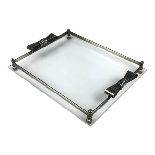 1950s Art Deco Lucite & Stainless Vanity Tray For Sale