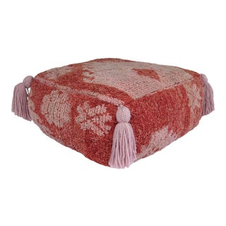 1960s Vintage Pale Pink and Coral Moroccan Pouf For Sale