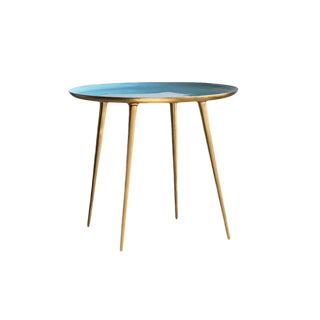 Classic Blue Enameled Table For Sale