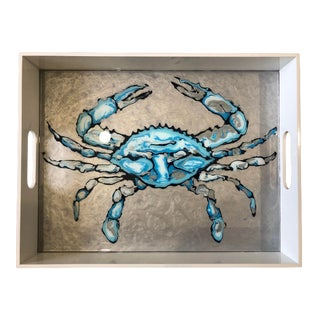 Large Blue Crab Tray by Blue Moon Art For Sale
