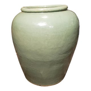 Antique Large Chinese Jiaxing Celadon Pottery Water Urn For Sale