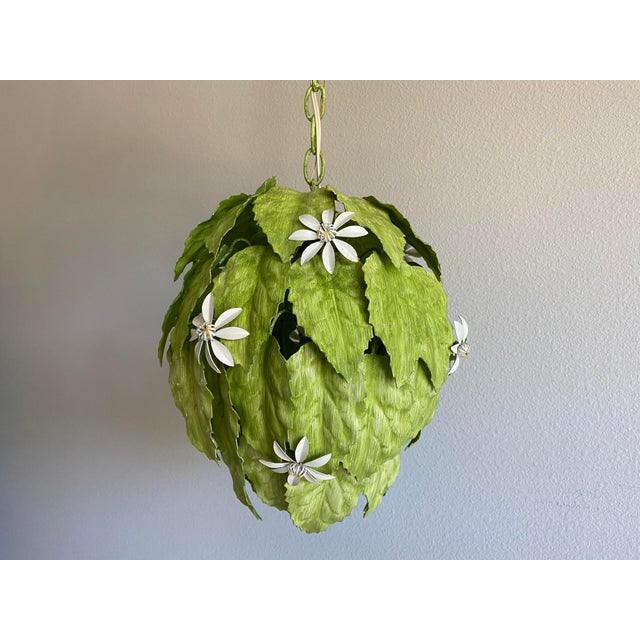Leafy Italian Pendant Light For Sale - Image 4 of 10
