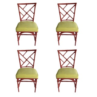 Mid-Century Modern Chinese Chippendale Dia Bamboo Red Side Chairs - Set of 4 For Sale