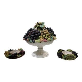 Vintage Italian Ceramic Grape Bunches 3 Piece Centerpiece Set