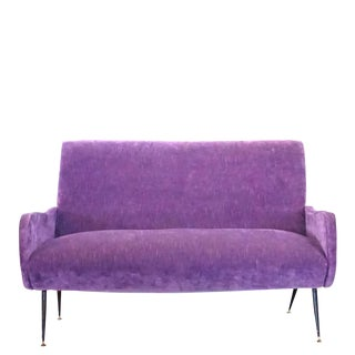 20th Century Italian Purple Upholstered Sofa by Marco Zanuso For Sale