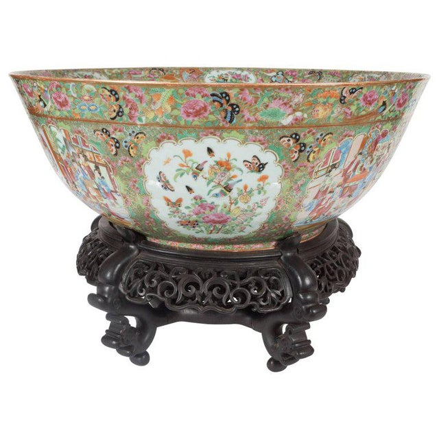 """Important """"Mandarin"""" Style Rose Medallion Chinese Export Ceramic Bowl For Sale - Image 11 of 11"""