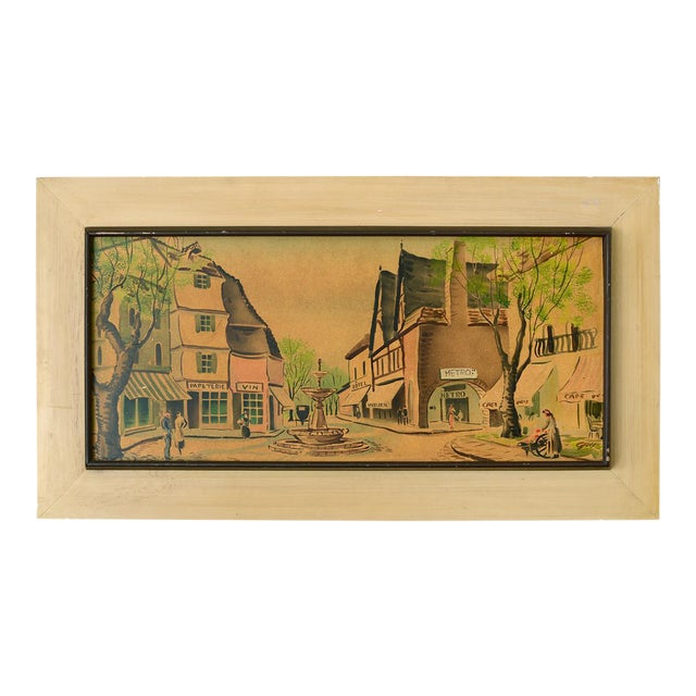Vintage French Village Town Square Watercolor Painting For Sale