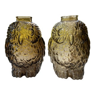 Mid 20th Century Glass Owls- a Pair For Sale