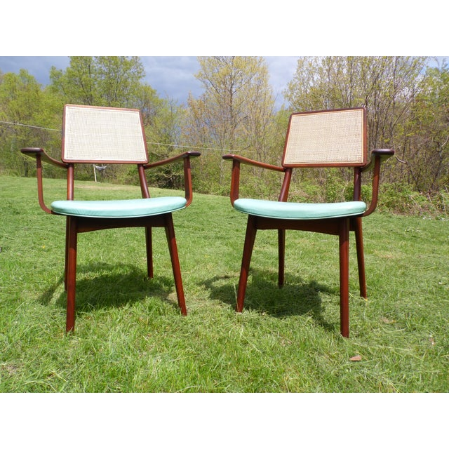 Blue Mid-Century Modern Walnut & Cane Dining Chairs - Set of 4 For Sale - Image 8 of 11