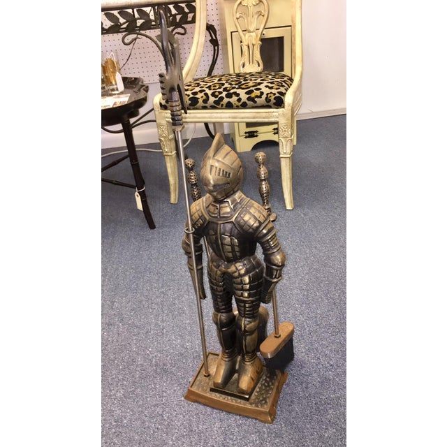 Vintage armor knight fireplace stand and tool set! A very cool piece!