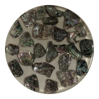 1950s Vintage Lucite and Abalone Trivet For Sale