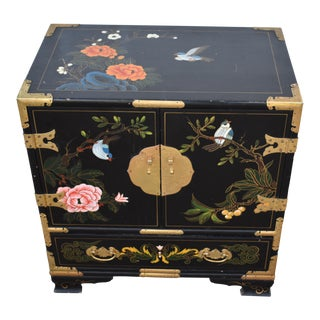 20th Century Chinese Black Wood Decorated Chest
