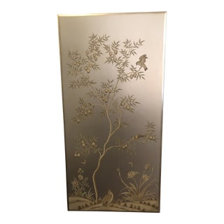 Hand Painted Chinoiserie Bird Panel For Sale