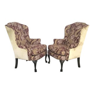 Mid Century Waverly Linen Chinoiserie & Velvet Broyhill Wingback Chairs - a Pair For Sale