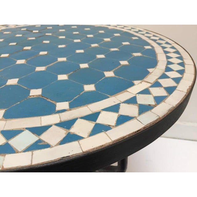 Blue Moroccan Mosaic Blue Tile Bistro Table For Sale - Image 8 of 13