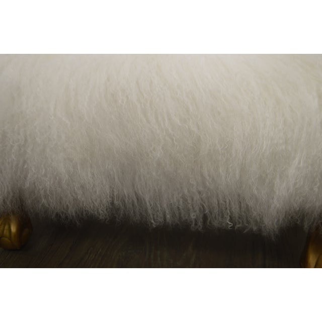 Wood Ottoman Upholstered in a Curly White Lambs Wool Skin With Gilded Legs For Sale - Image 7 of 10