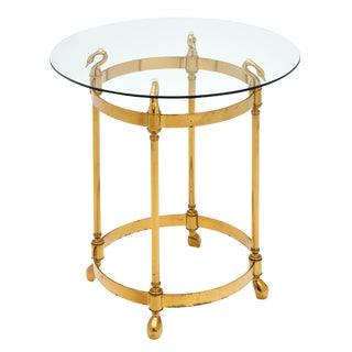 Art Deco Period Brass Swan Side Table For Sale