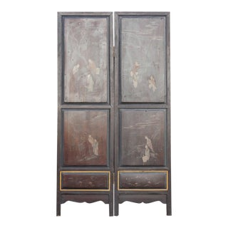 Early 20th Century Chinoiserie Two Panel Screen For Sale
