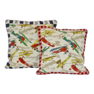 1960s Vintage Airplane Fabric Pillows - a Pair For Sale