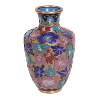 1970s Blue Pink and Red Champlevé Vase For Sale