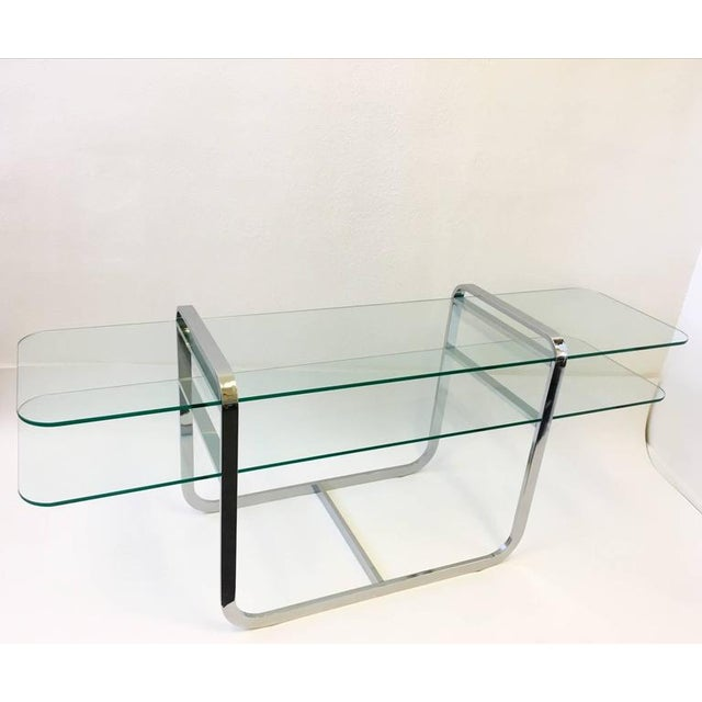 Chrome and Glass Console Table and Pair of Ottomans by DIA - Image 4 of 10