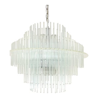 Vintage Getano Sciolari Lucite And Glass Rod Chandelier For Sale