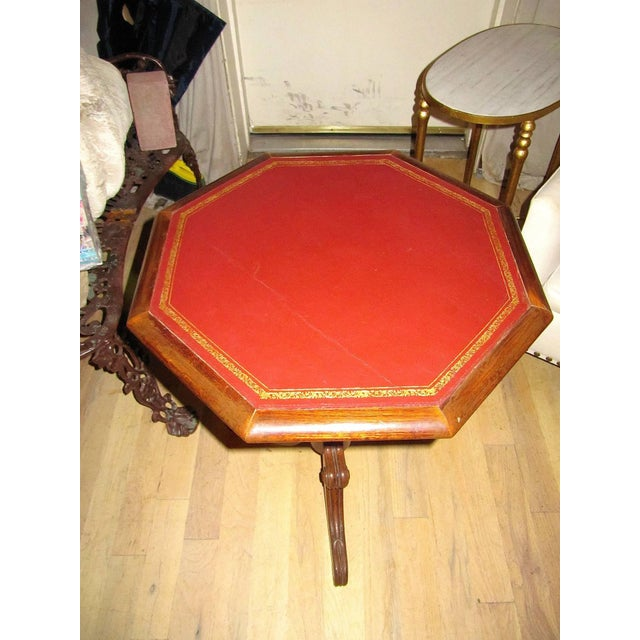 Regency Leather-top Side Table With Gilt Tooling For Sale - Image 4 of 6