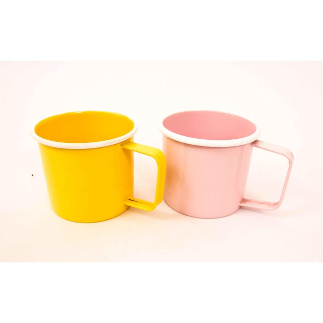 Shabby Chic Mid-Century Pastel Enamel Mugs - a Pair For Sale - Image 3 of 8