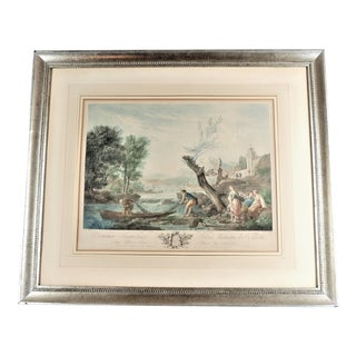 Antique 1700's French Harbor Fishing Scene Hand Tinted Print of Etching by Joseph Vernet, Framed For Sale