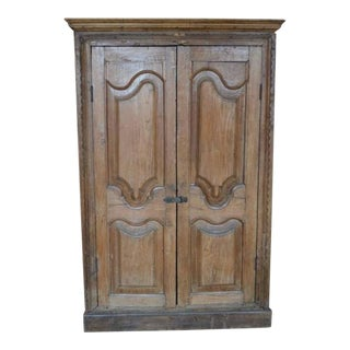 Antique Indian Tall Rustic Cabinet With Carved Doors From the 19th Century For Sale