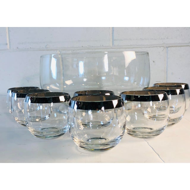Silver 1960s Punch Bowl Set With Silver Rim Tumblers, Set of 9 For Sale - Image 8 of 9