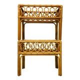Image of Boho Chic Rattan and Bamboo Side Tables - a Pair For Sale