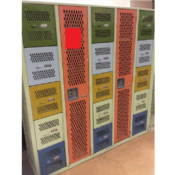 Vintage Mesh Steel Multicolor Lockers - Image 3 of 6