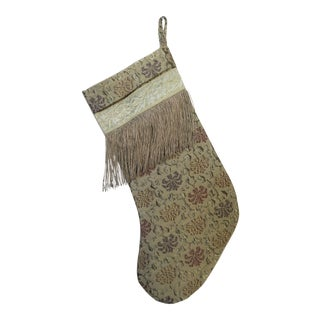 Christmas Stocking with Metallic Fringe For Sale